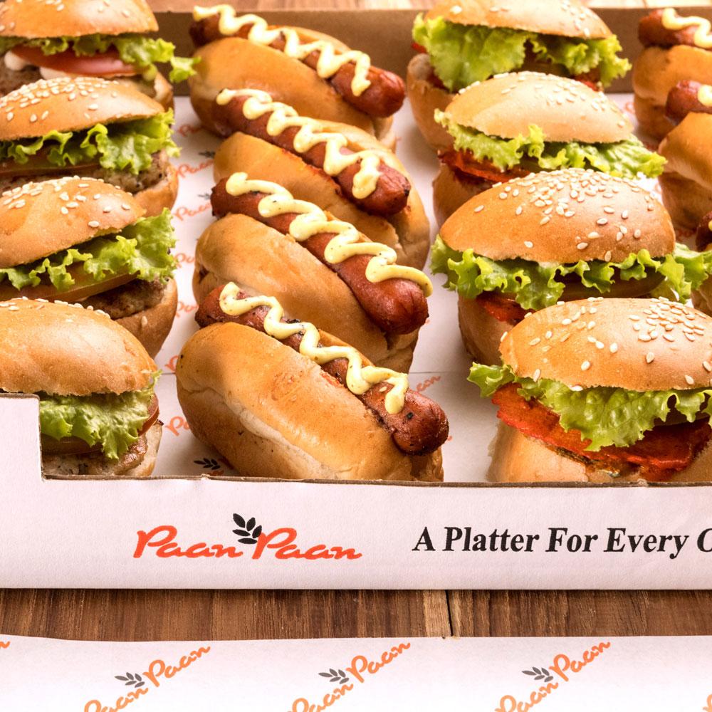 Mini Hot Dogs Mini Burger Platters